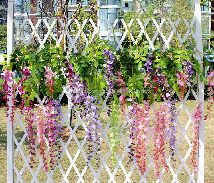 Wholesale Wisteria Gefälschte Hängende Rebe Silk Foliage Künstliche Blume Blatt Garland Plant Home Decoration Farben für wählen