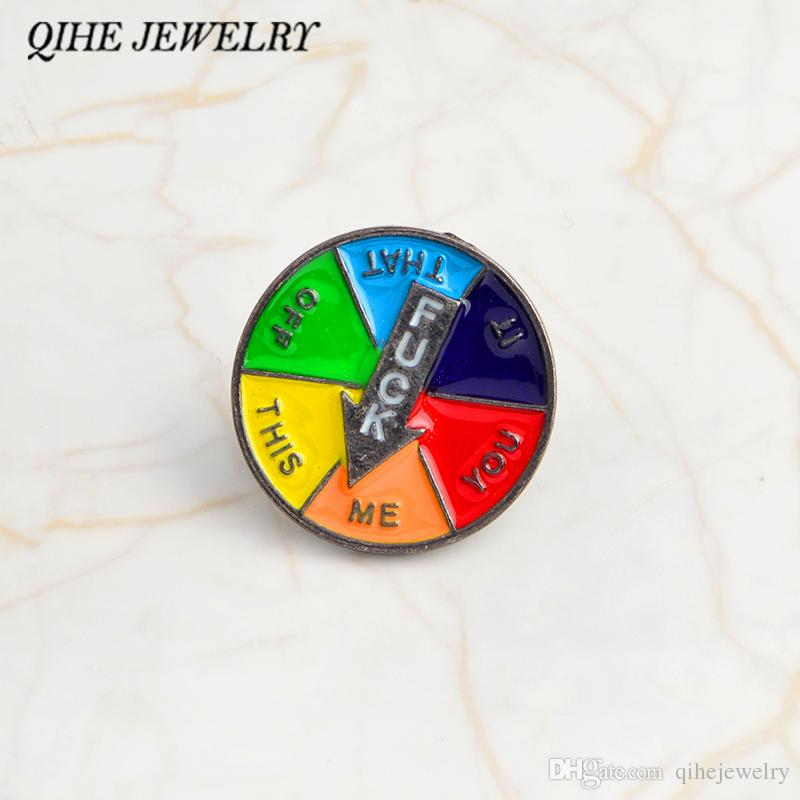 11566801350c QIHE JEWELRY Spinning decision enamel pin Hard enamel lapel pin Badges  Brooches Backpack Hats Accessories Funny pins