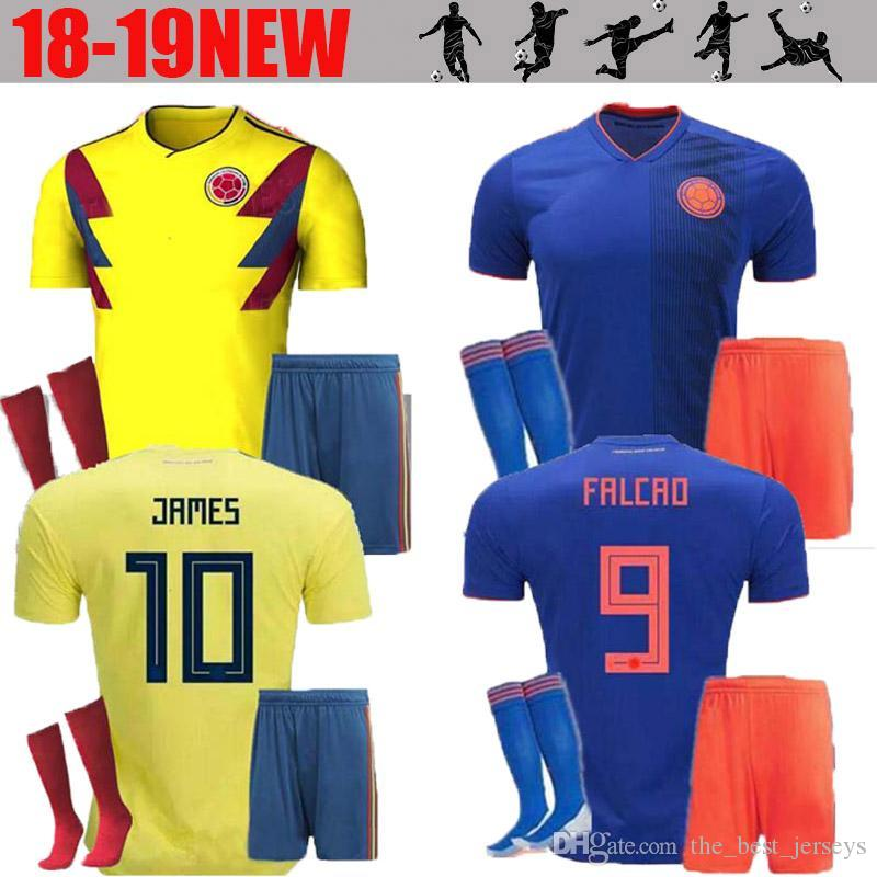 c24fd219b 2018 World Cup Colombia Soccer Jersey Adult Kits Colombia Home Yellow  FALCAO JAMES CUADRADO Soccer Uniform Football Shirts Full Sets UK 2019 From  ...