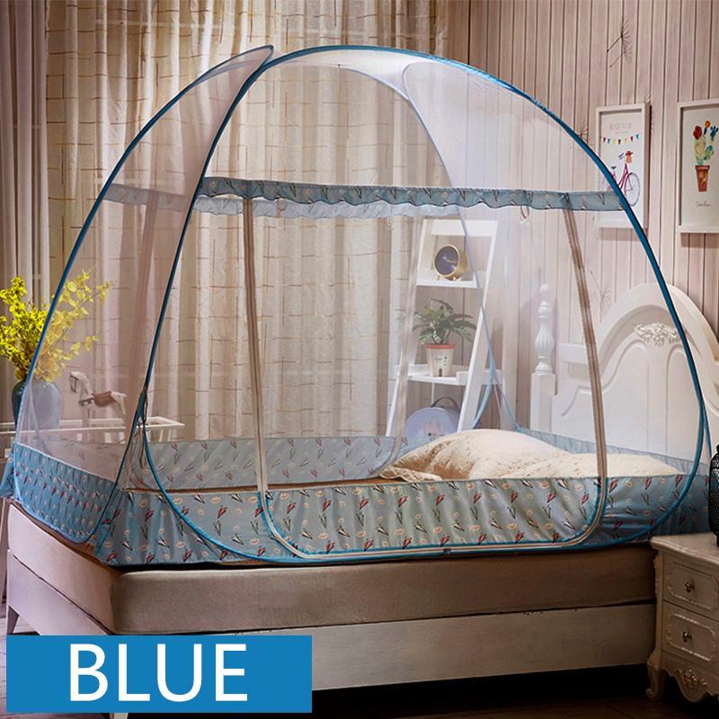 Acheter Moustiquaire Pliante Portable Bleu Double Lit A Baldaquin