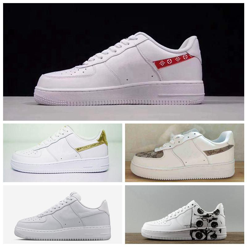 2018 Moda de alta calidad Forcing CORK af1 Hombres Mujeres One 1 Zapatillas de running high Low Cut All White Negro Brown Color Casual Sneakers Tamaño 36-45