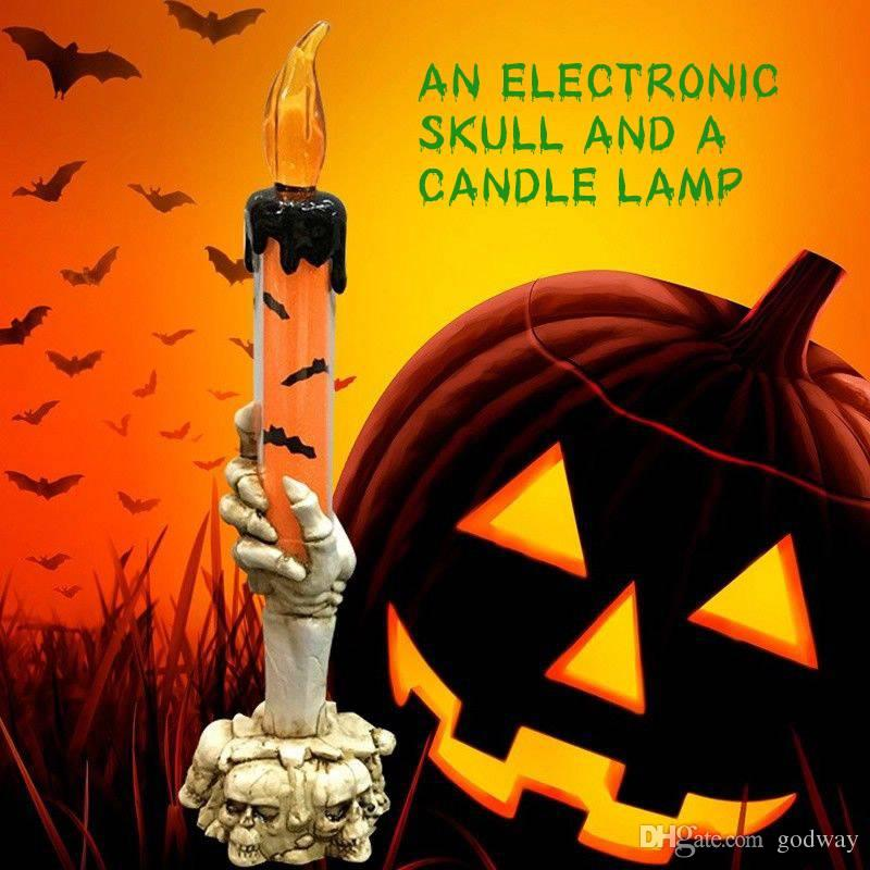 New Halloween Skull Skeletal Hand Stand LED Candle Light Decoration Party Lamp light Halloween gift 3 colors