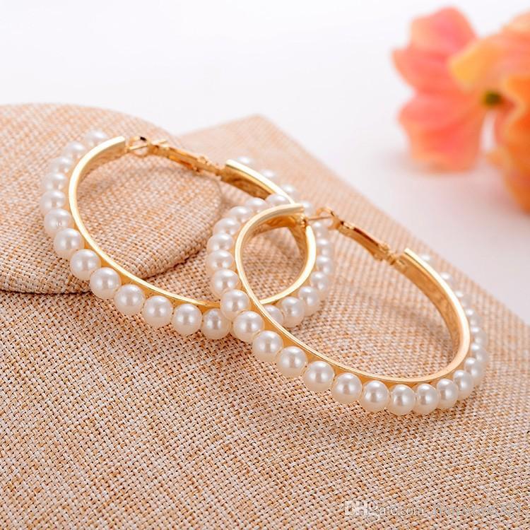 뜨거운 판매 새로운 아름다운 패션 여성을위한 예쁜 진주 동그라미 귀걸이 진주 귀걸이 패션 보석 무료 배송 HJ173