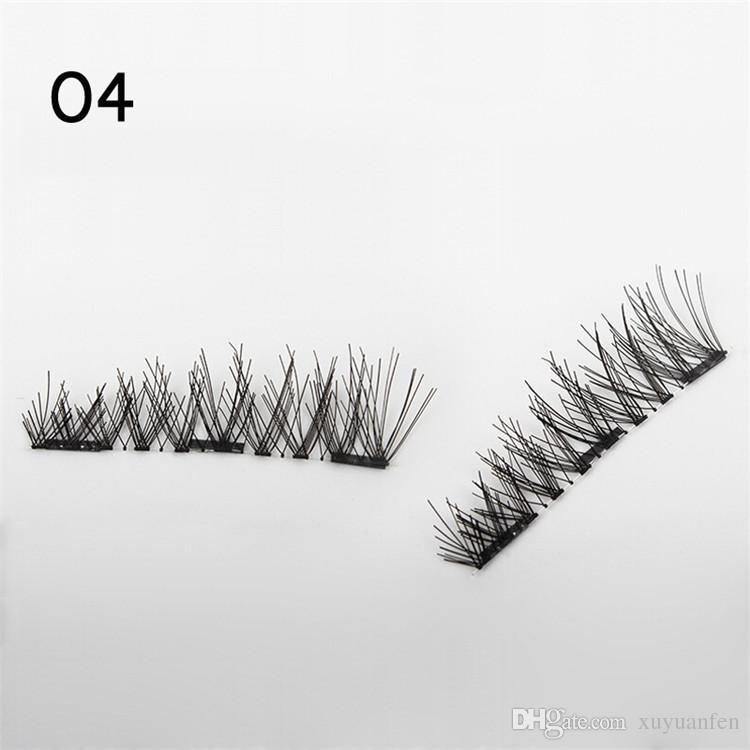 4 Unids / set Pestañas magnéticas dobles 3D hechas a mano en imanes Pestañas postizas naturales sin pegamento Imán marrón Extensión de pestañas postizas