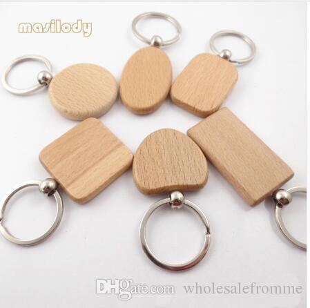 Großhandel / Naturholz Keychain Frei Für Diy 1 Seite Logo Buche ...
