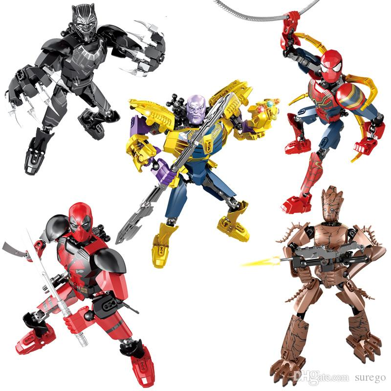 Avengers Super Deadpool Spider-man Thanos Black Panther Treeman Buildable Action Figure Movable Joint Miniature Building Block Toy