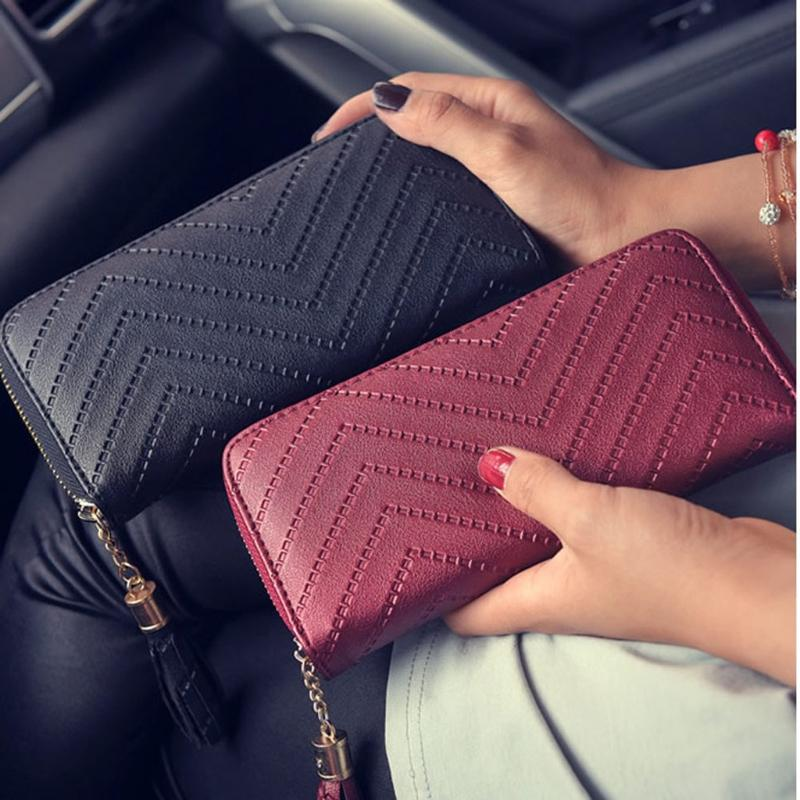 Women Leather Card Phone Holder Long Arrow Wallet Checkbook Tassel Handbag  Purse Pierre Cardin Wallet Black Wallet From Viceokae 21155902fa633