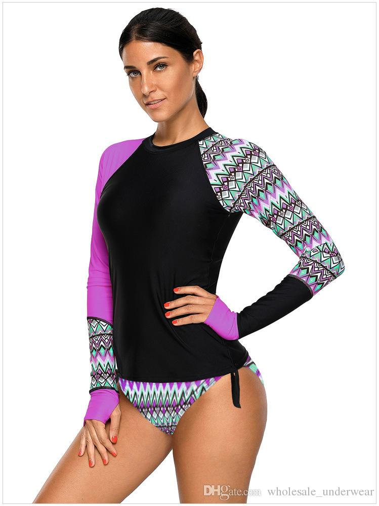 Women Long Sleeve Rash Guard Active Swim Set Tee Workout Top Rashguard UPF 50+ Plus Size sporty-style swim Bikini Set Beach Diving Suit