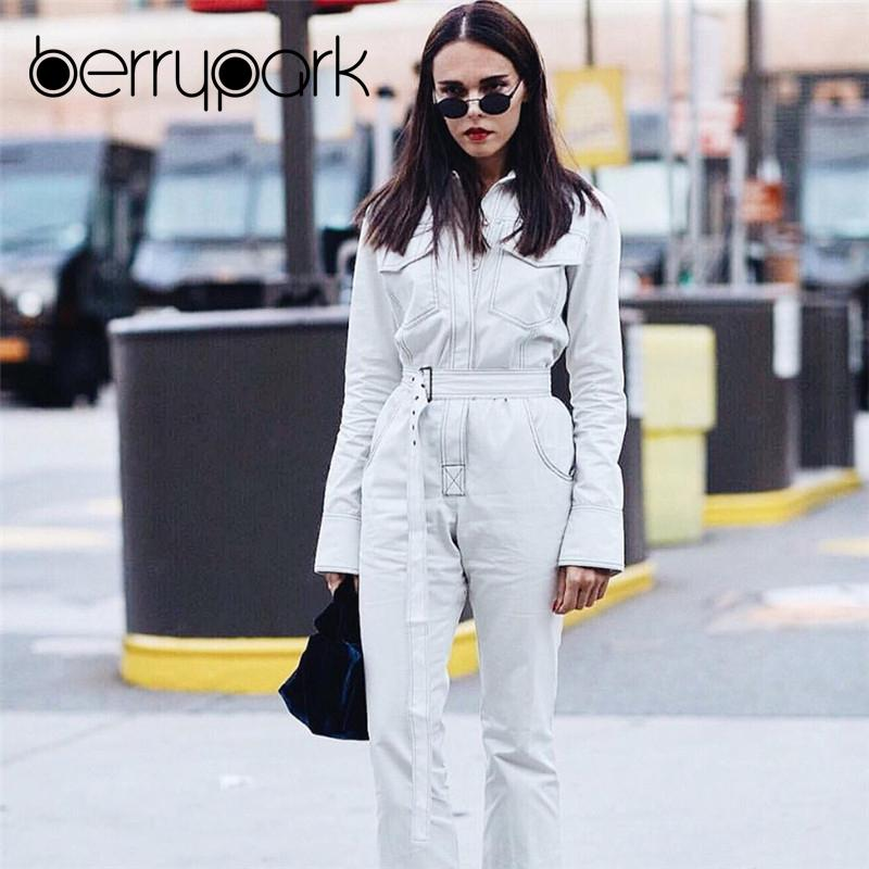 c3a0bceddd42 2019 BerryPark High Street White Denim Jumpsuits 2018 Winter Fashion Women  Turn Down Collar Overalls Long Jeans Rompers With Belt From Layette66
