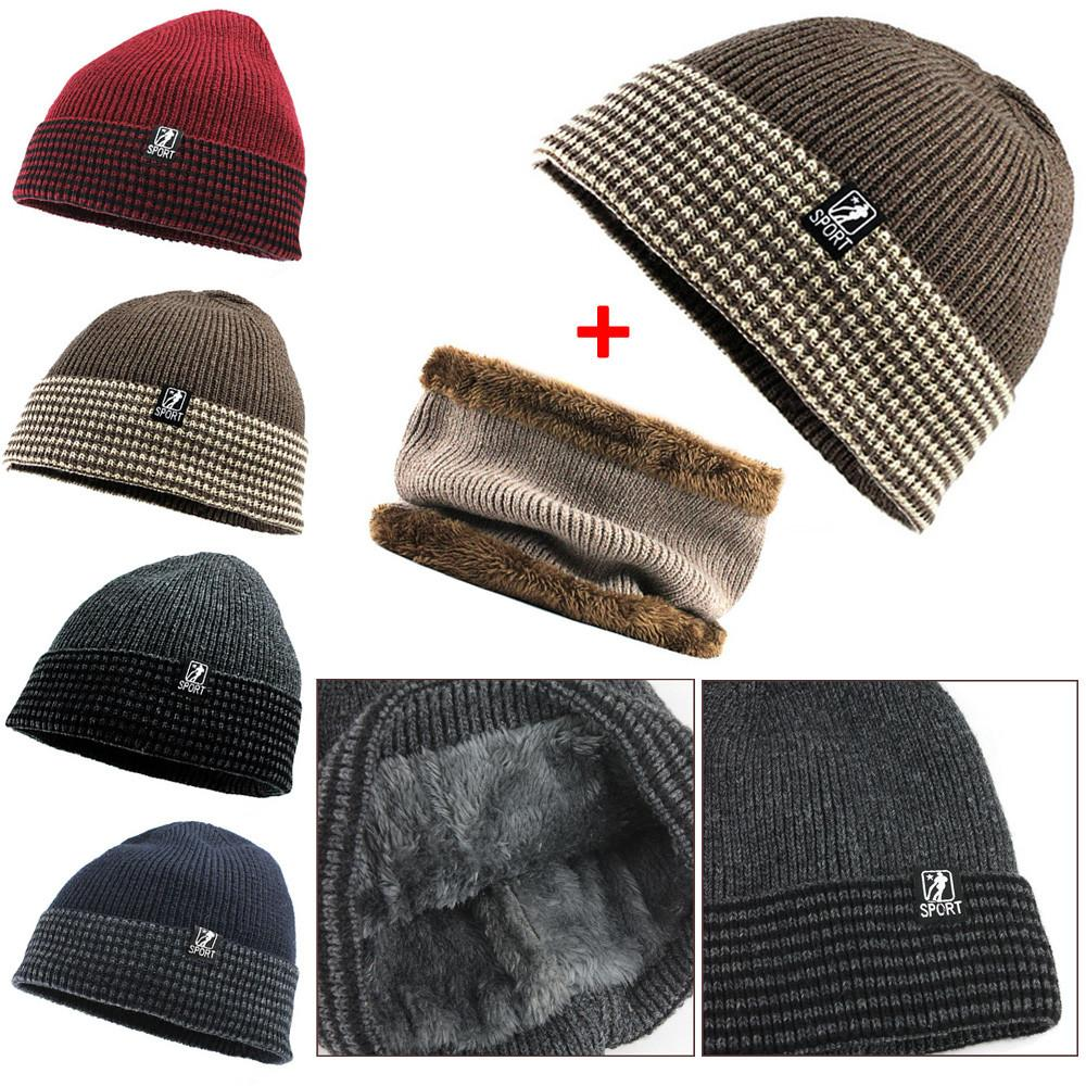 0e55bbf050a3f 2019 Winter Mens Hat And Scarf Set Warm Knit Cap And Scarf Outdoor Female  Solid Bonnet Autumn Skullies From Dragonfruit