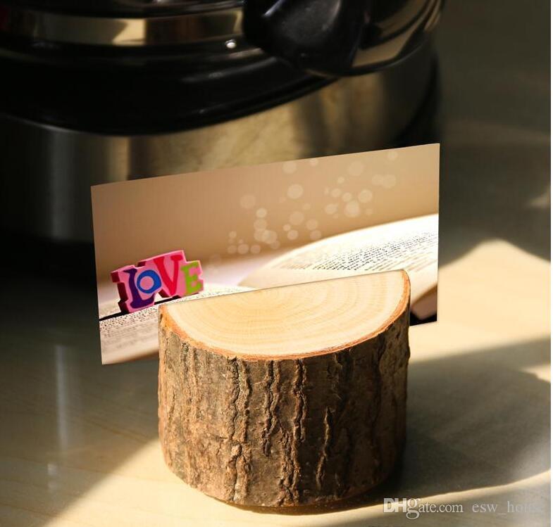 Cute Tree Stump Handwerk Platz Kartenhalter Rustikalen Stil Sitzordner Bildclip Hochzeit natürlichen hölzernen dekorieren