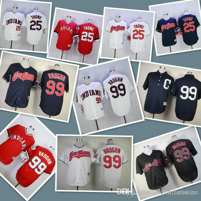 2019 Mens Indians 25 Jim Thome 99 Ricky Vaughn 100% Stitched Baseball  Jerseys Color White Blue Red Black Size S-XXXL Baseball Jersey Online with  ... 445fe9b24