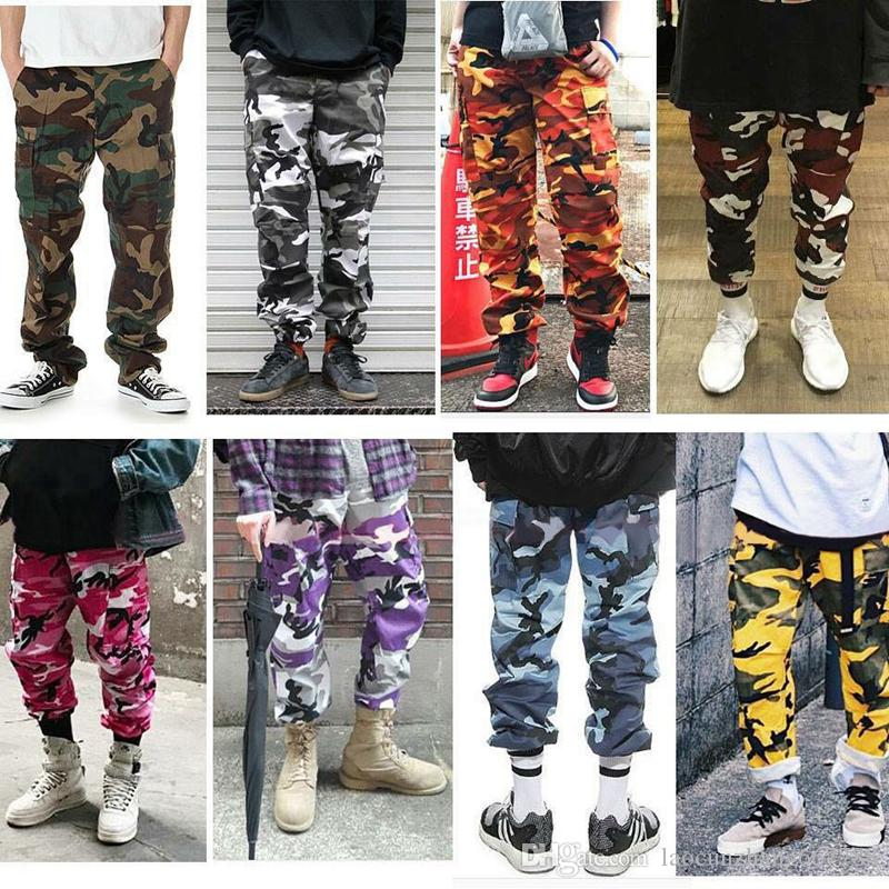4defb3814f Color Camo Cargo Pants 2018 Mens Fashion Baggy Tactical Trouser Hip Hop  Casual Cotton Multi Pockets Pants Streetwear Canada 2019 From  Laocunzhang667788, ...
