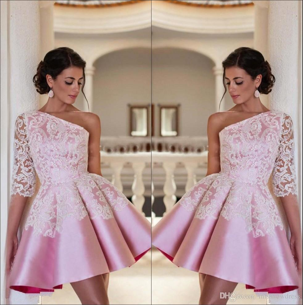 b52408b7a1dd 2018 Elegant Pink One Shoulder Satin A Line Homecoming Dresses Lace  Applique Short Party Prom Evening Dresses BA2921 Homecoming Dress Shop Homecoming  Short ...
