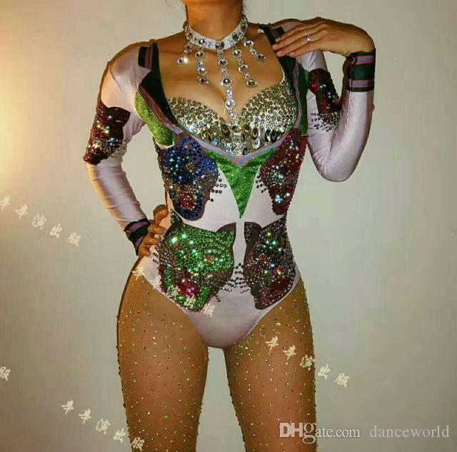 Ds Gösterisi Giysi Rhinestone Bodysuit Seksi Gece Kulübü Parti Tulum Leotard Kadın Şarkıcı Sahne Dans Giyim Performans Tulum Gece Kulübü Elbise