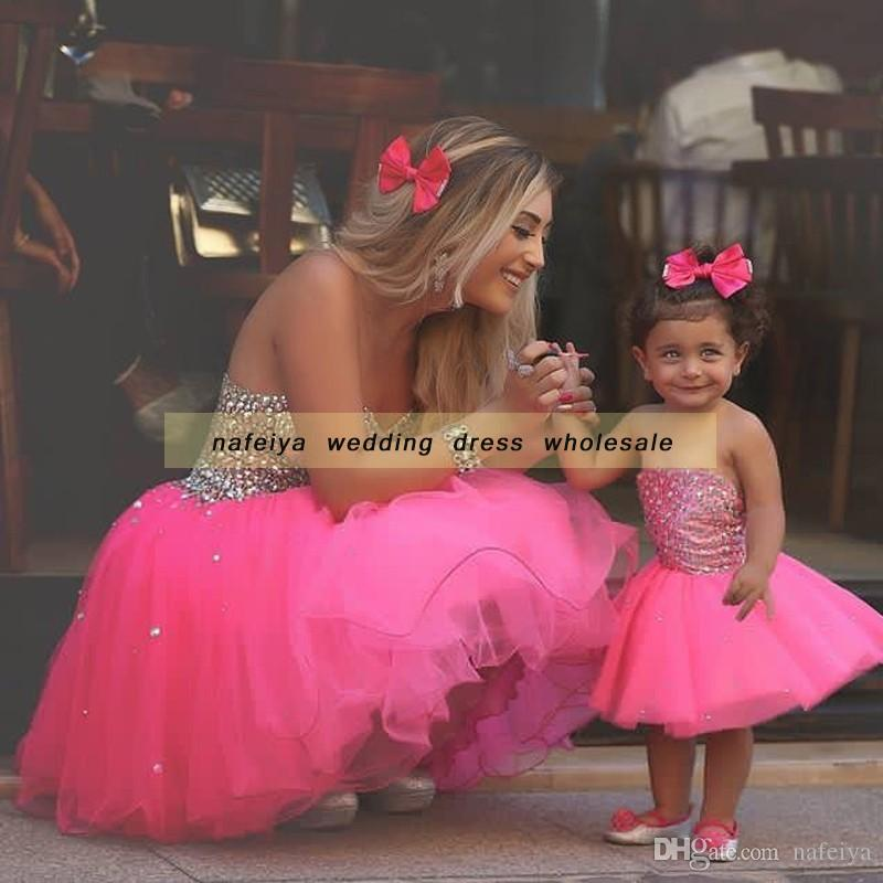 2018 Strapless Ball Gown Said Mhamad Rose Pink TuTu Flowers Girls Dresses Little Girl Patterns Mother and Daughter Dress Gowns