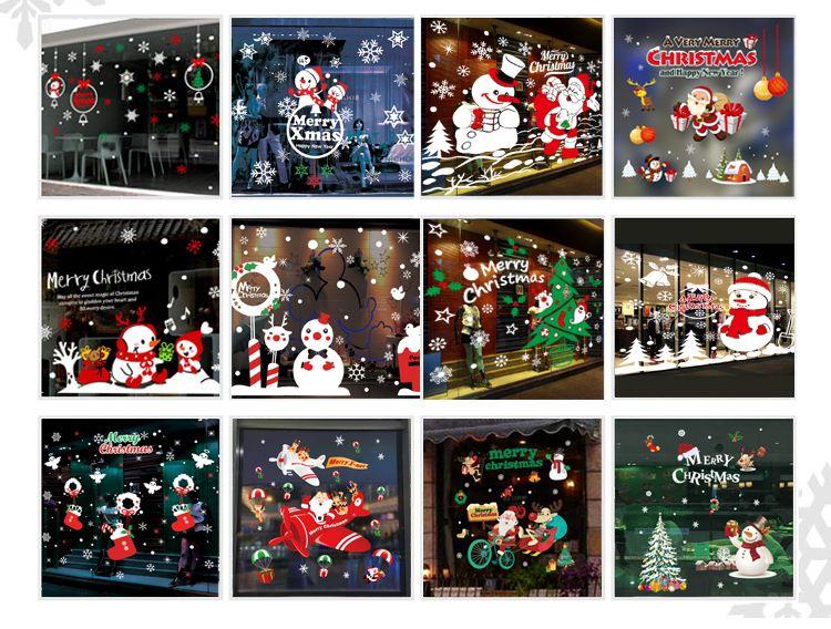 73x52cm 2sq m christmas decorations glass paste santa claus snowman deer static window - Window And Door Christmas Decorations