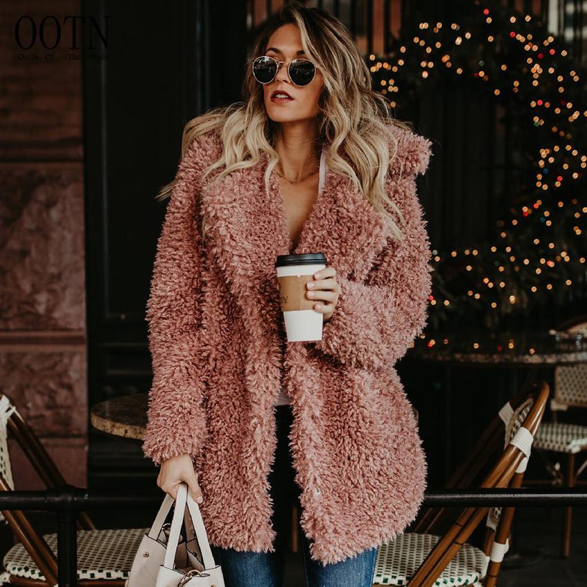 Lungo Inverno Nero Pelliccia Rosa 2018 Fur Faux Acquista Cappotto YZqzwn5