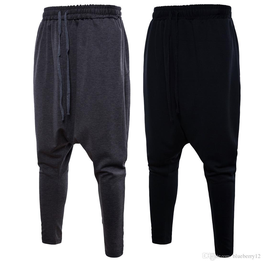 d744505f8 Compre es Hombres Pantalones Harem Moda Sólido Joggers Pantalones Lápiz  Deportivo Para Hombre Elástico Wasit Cordón Jogger A  41.93 Del Quota