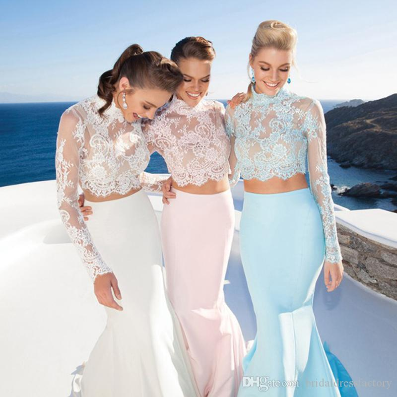 Two Pieces Elegant Fashion Backless Lace Mermaid prom dresses 2018 floor length coat robyn rihanna fenty evening party gown