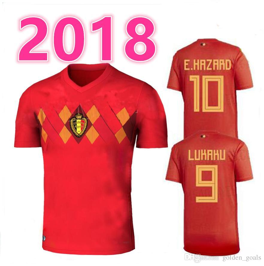 e11401738 2019 2018 Belgium Home Red Top LUKAKU FELLAINI E HAZARD KOMPANY DE BRUYNE  Soccer Jersey 18 19 Belgium Thailand Quality Football Shirt From  Golden goals
