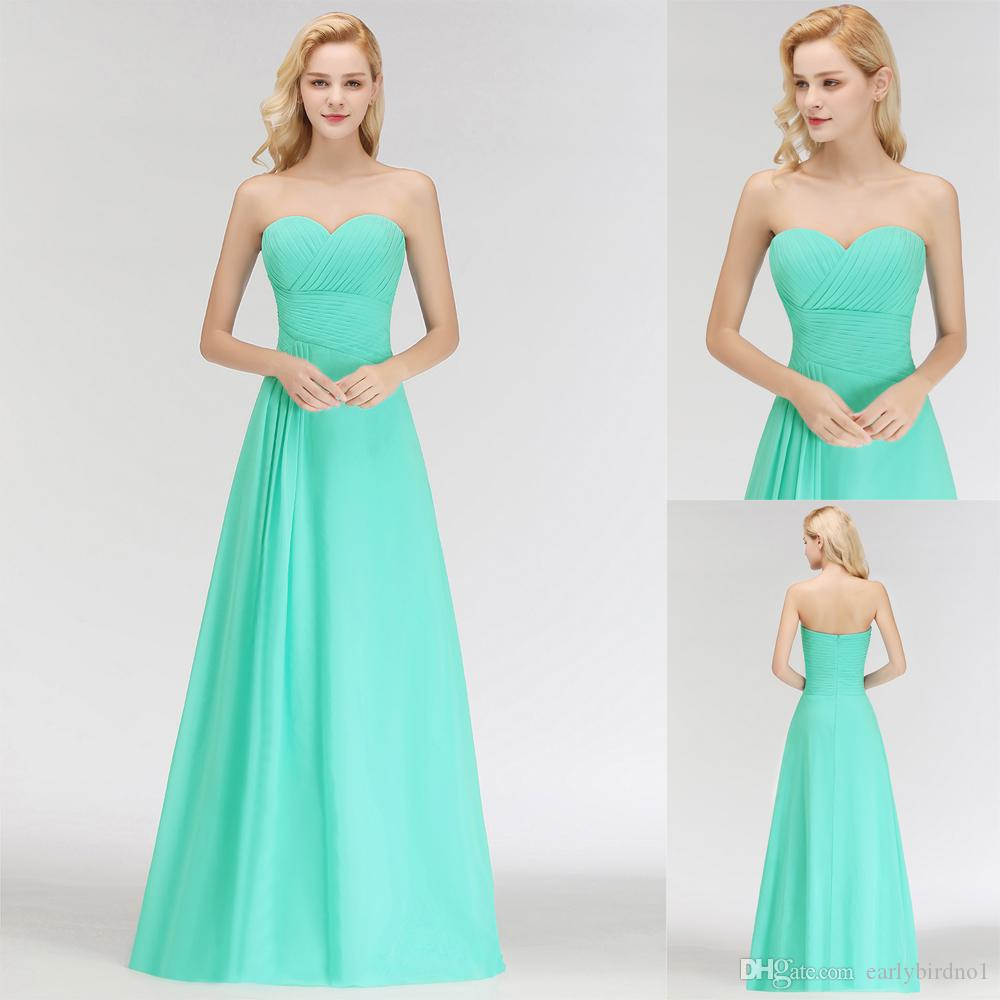 bc940e69675b Real Image Turquoise Bridesmaid Dresses Strapless Chiffon Floor Length  Ruched Wedding Guest Gown 2018 New Custom Made Evening Gown BM0051 Gray  Bridesmaid ...