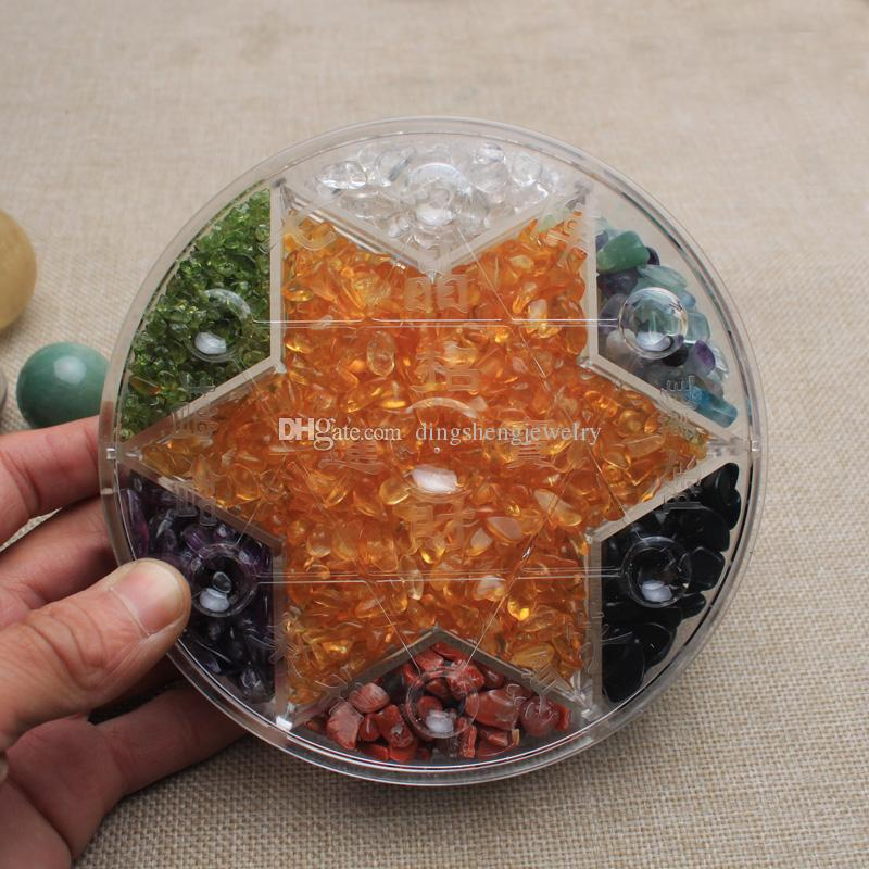Crystal ball 7 stars plate sphere stand tumbled Chips Stone Healing natural Mineral healing reiki fengshui Wholesale