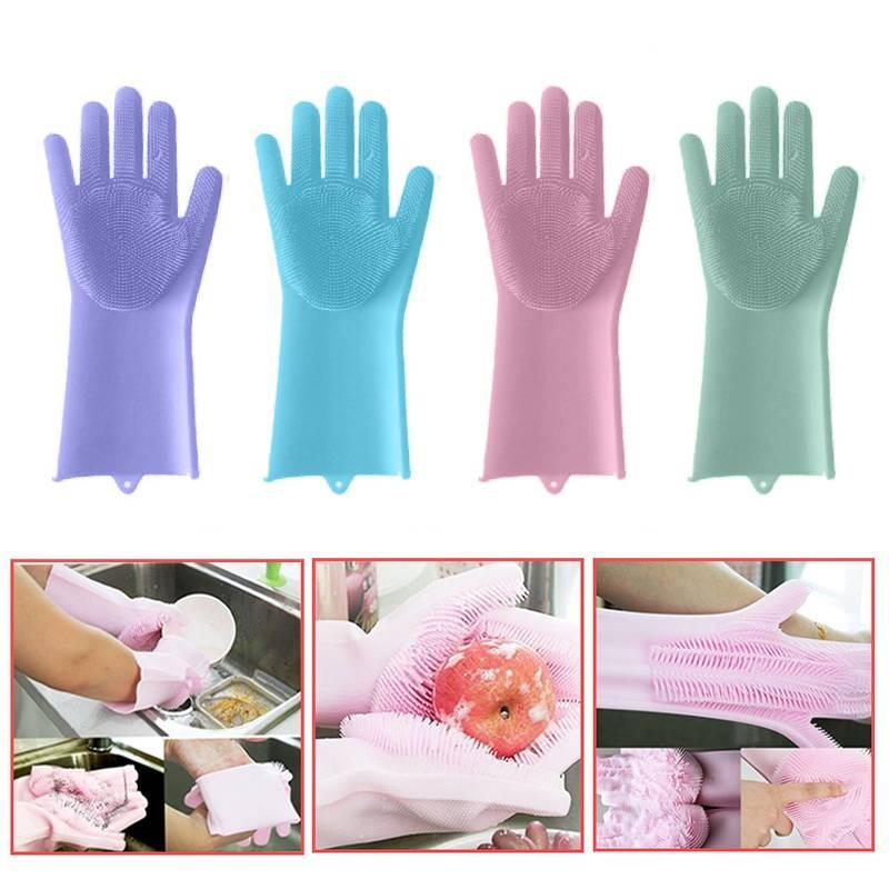 60408c3ee 2019 A Pair Magic Silicone Scrubber Rubber Cleaning Gloves Dusting Dish  Washing Pet Care Grooming Hair Car Insulated Kitchen Helper From Home5, ...