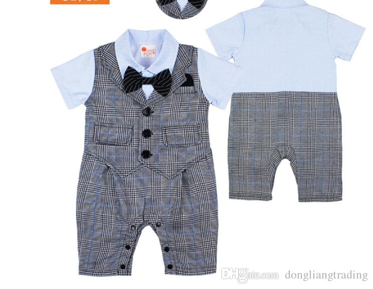 9e4fa70cf 2019 Summer Gentleman Style Baby Boy Clothes Cotton Bowtie Infant ...