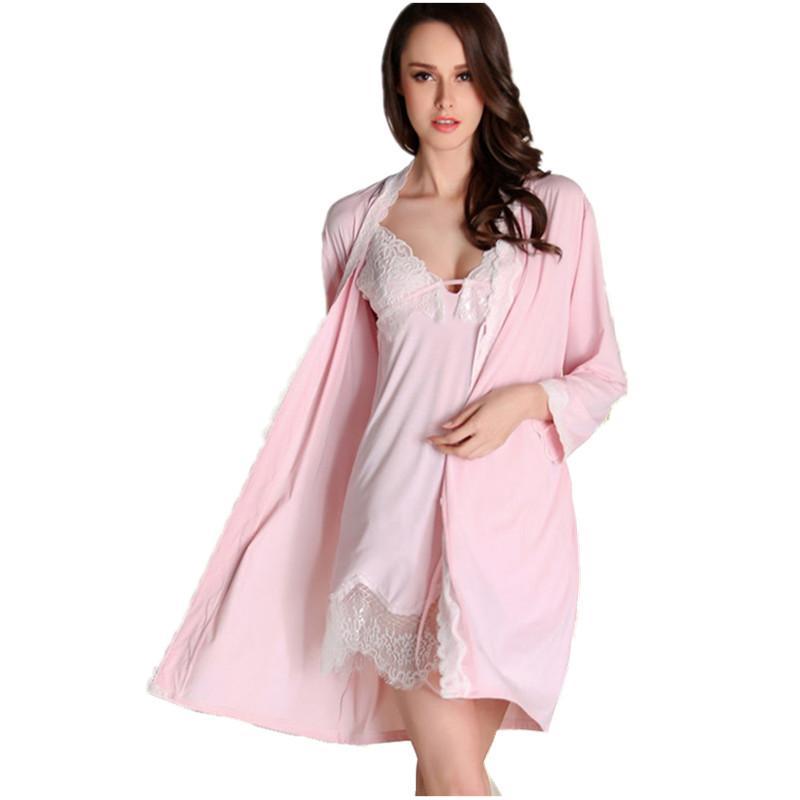 Großhandel Frauen Mini Länge Robe Set Sexy Weibliche Nachtwäsche ...