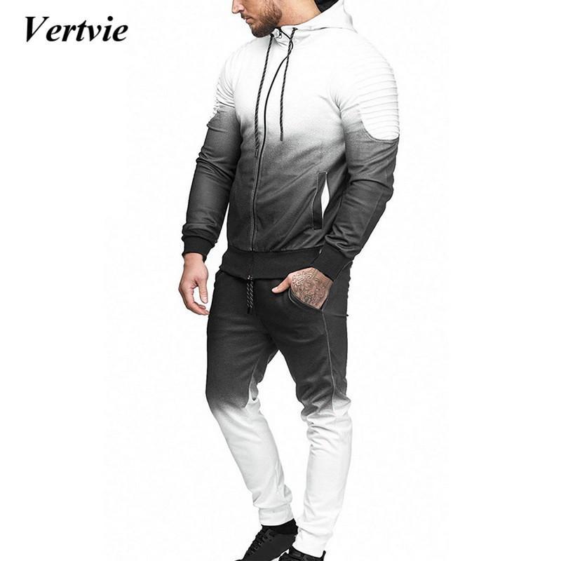 92f9fce220bff Satın Al CALOFE Sonbahar Erkekler Moda 3D Baskı Seti Kazak + Pantolon Takım  Elbise Degrade Rahat Ceket Pantolon Eşofman Streetwear Artı Boyutu, ...