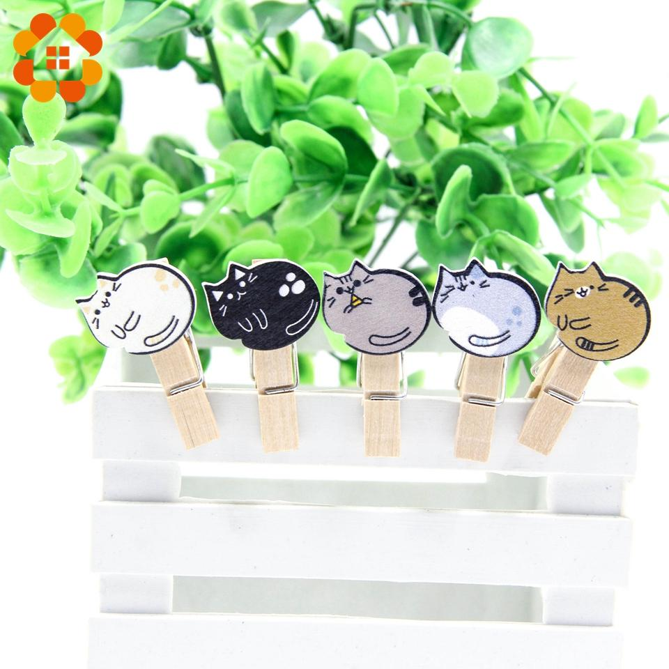 Wooden Cute Clips with Hemp Rope Photo Snacks Message Multifunction Lazy Cat Storage Clip Home Party Decoration Supplies