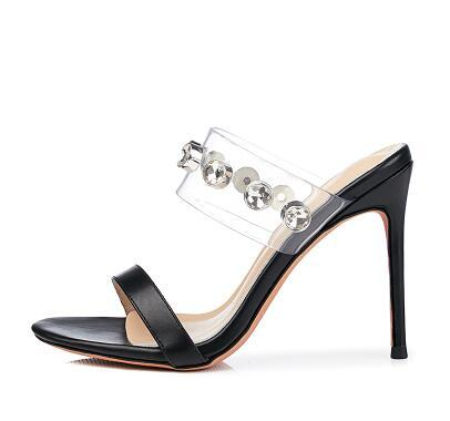 24ed969a9 2018 Summer New Women'S Small Fresh Rhinestone Transparent Thin High Heel  Sandals Sexy Silver Wedding Shoes Cheap Shoes For Women Buy Shoes Online  From ...