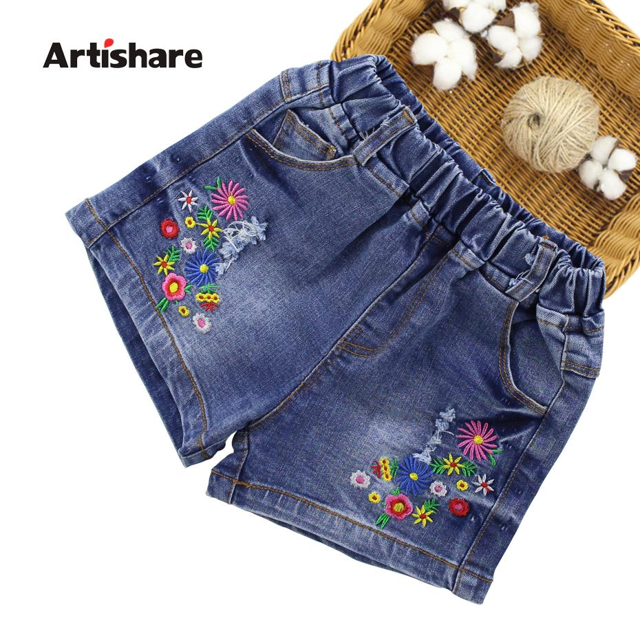 c56d9da14f Artishare Jeans For Girls Flower Embroidery Short Jeans Girls Casual Teen  Denim Clothes For 6 8 10 12 13 14 Year Girls Miss Me Jeans On Sale Cool  Jeans For ...