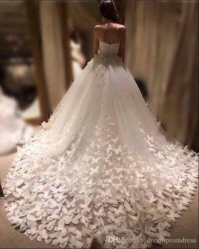 compre nueva moda vestidos de novia catedral tren apliques florales