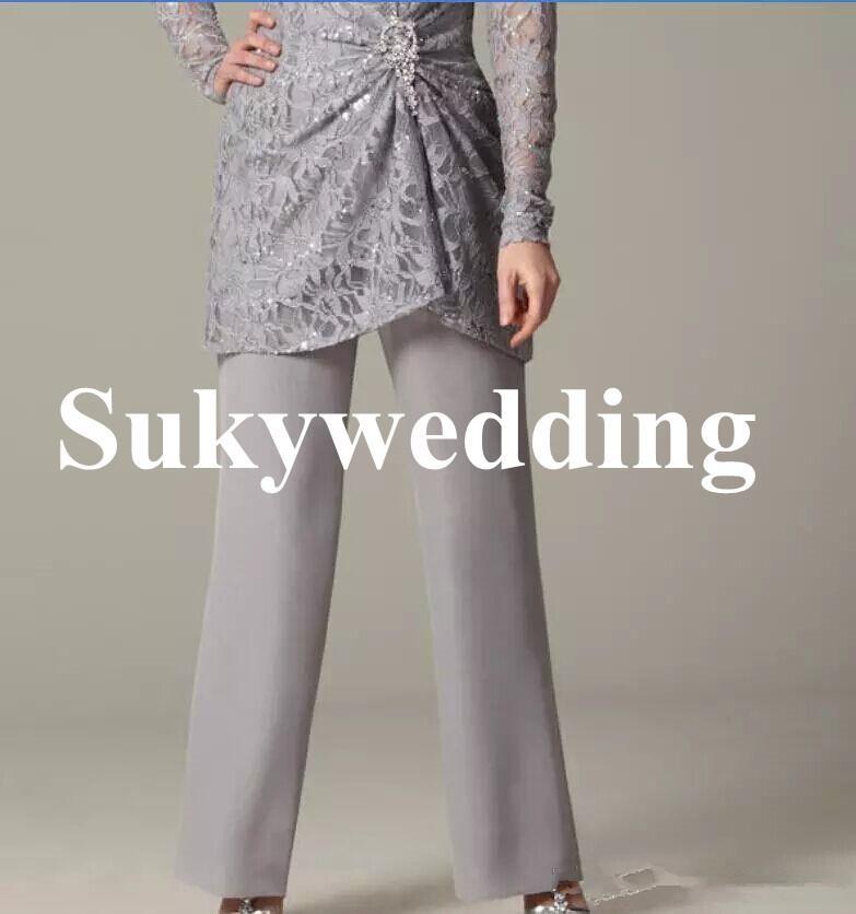 La madre de la novia de encaje gris se adapta a las mangas largas más el tamaño de las mujeres vestidos de noche formales cristales de lentejuelas boda vestido de invitado por encargo