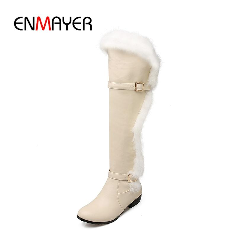 6dc292ab6c8 ENMAYER New Fashion Women Solid Round Toe Faux Fur Square Heel Over The Knee  Boots Lady High Heel Boots ZYL699 Motorcycle Boots Military Boots From  Dealbag