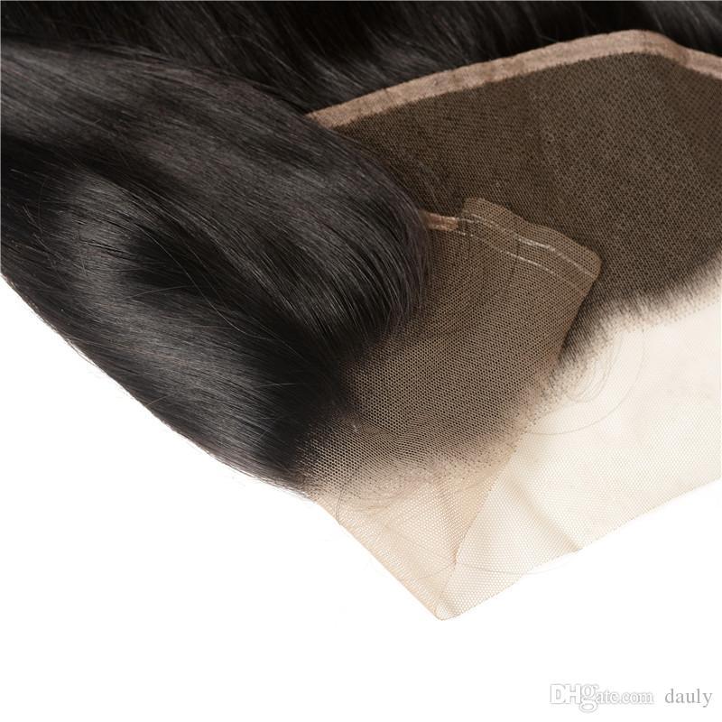 Beautysister pelo barato encaje frontal cierre 13 * 4 brasileño virginal del cabello humano mateiral hecho color negro natural buena calidad onda del cuerpo