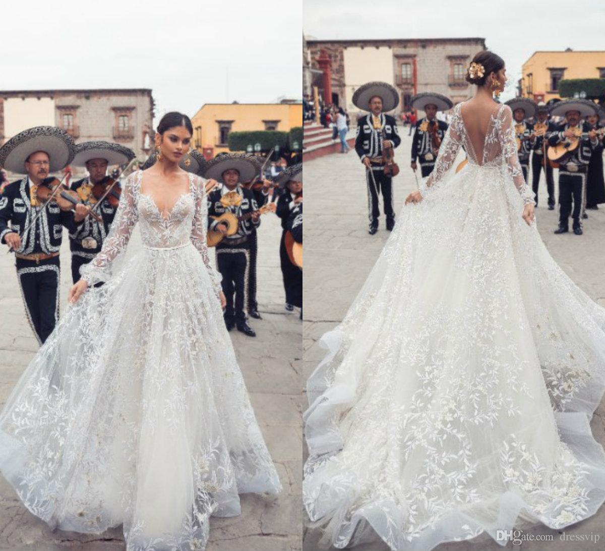 Discount 2019 Julie Vino Wedding Dresses V Neck Sweep