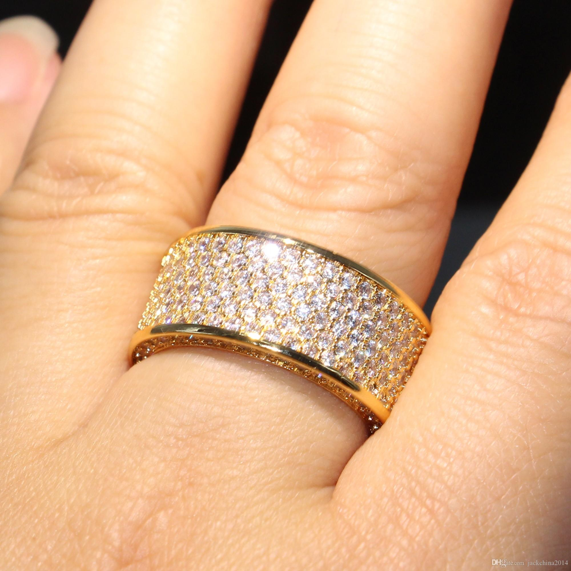 Stunning Brand Desgin High Quality Luxury Jewelry 925 Sterling Silver&Yellow Gold Filled Pave Enternity Topaz CZ Diamond Circle Band Ring