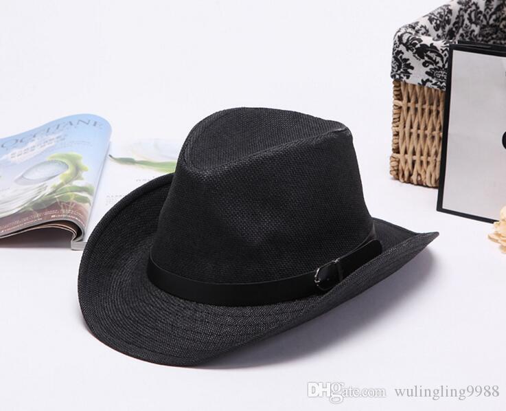 Chapeaux de soleil Ruban Rond Top Plat Paille Fedora Chapeau Panama Plage Chapeaux D'été Chapeau de cowboy Chapeau De Paille Snapback Gorras Large Bord Chapeaux De Paille