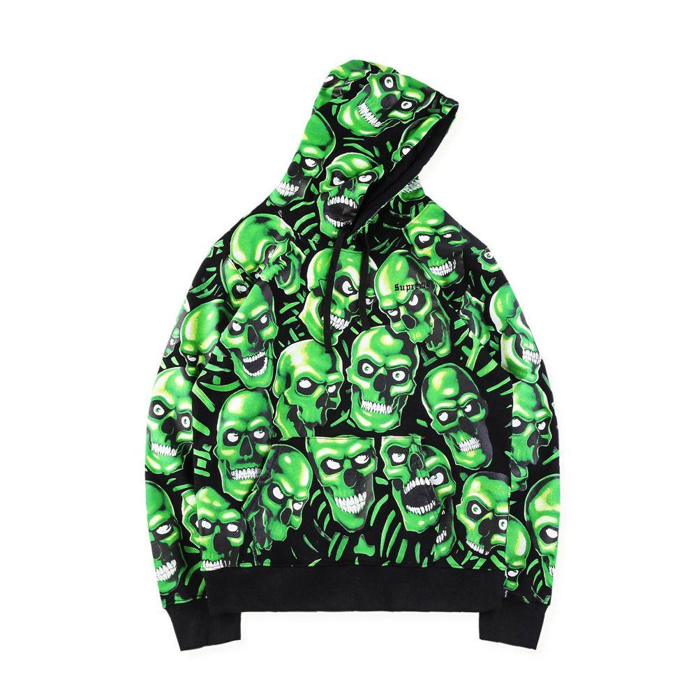 Fashion Green Skulls Hoodies Halloween Scary Clothes Cotton High Street  Hoodie Designer Sweatshirt Pullover Hoodie For Men and Women