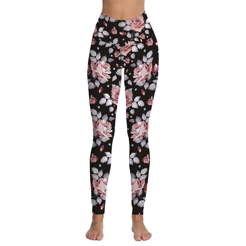 528a9e6fefb7b 2019 Womens Floral Printed High Waist Tummy Control Workout Running Stretch  Yoga Leggings From Yarqi, $31.69 | DHgate.Com