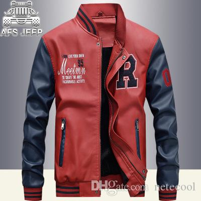 4a533b713 Jacket Men Embroidery Baseball Jackets Pu Leather Coats Slim Fit College  Luxury Fleece Pilot Leather Jackets Casaco Masculino for Man New