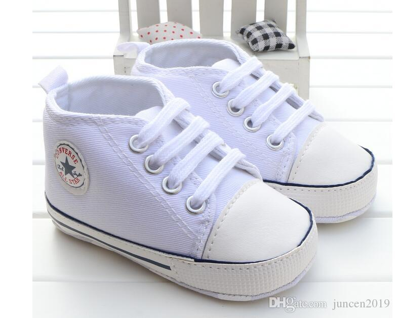 759931ee966d8 2019 New Canvas Classic Sports Sneakers Newborn Baby Boys Girls First  Walkers Shoes Infant Toddler Soft Sole Anti Slip Baby Shoes From  Juncen2019, ...