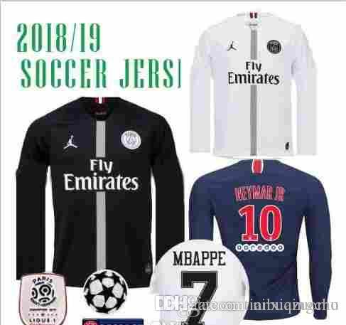 8a2c1023b 18 19 PSG MBAPPE 7 Champions League LONG SLEEVE SOCCER JERSEYS HOME ...