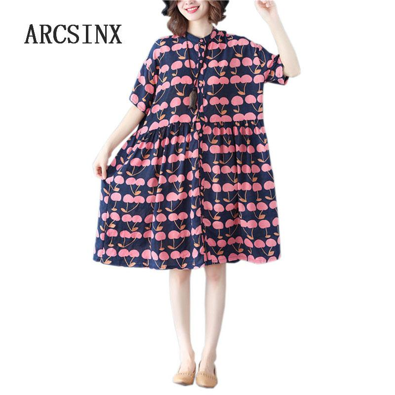 Arcsinx Mori Girl Women Dress Plus Size 4xl 3xl Xxl Casual Kawaii