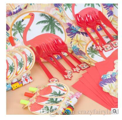 Flamingo Party Decoration Kids Birthday Weddings Cups Napkin Hats Supplies Baby Pack Event Accessory Decorations