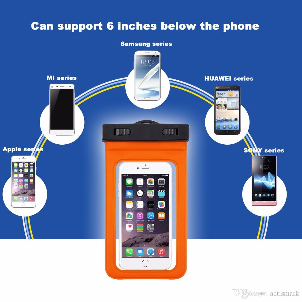 Wholesale Universal IPX8 Waterproof Phone Case For Samsung S8 S6 S7 Edge J5 Phone bag Dry Bag Pouch Clip For All Up Clear Waterproof Bag