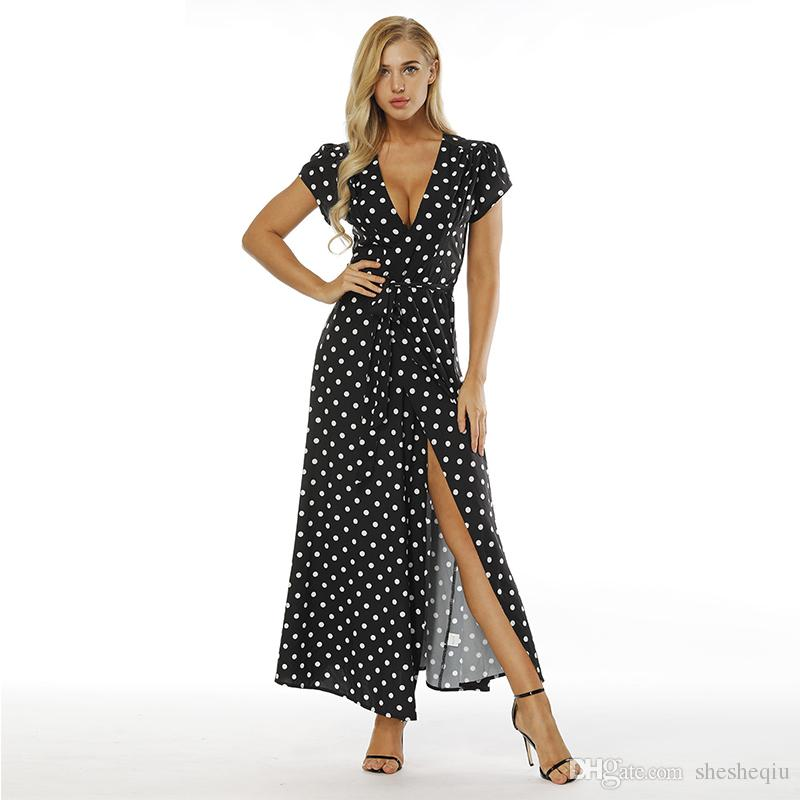 572bc9f0ad7a Beach Party Polka Dot Ruffle Wrap Long Dress Women Split Long Sleeve Spring Casual  Dress 2018 Streetwear Black Maxi Dresses Womens Floral Dress Strapless ...